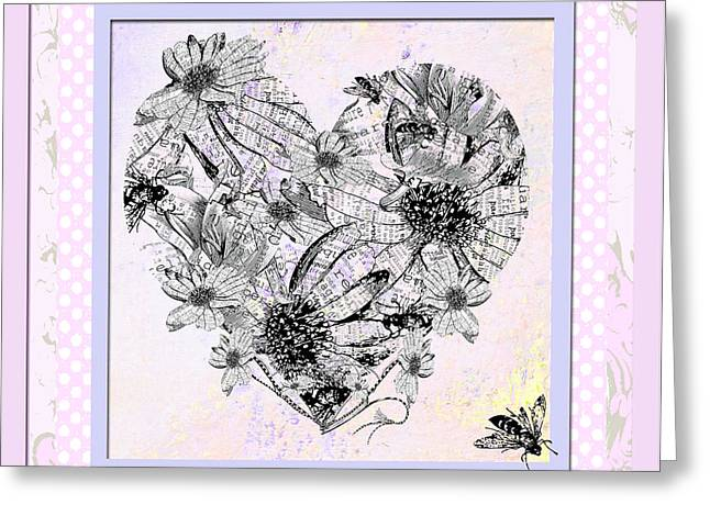 Juvenile Wall Decor Mixed Media Greeting Cards - Girly Girl Happy Heart WITH FLOWERS AND POLKA DOTS Greeting Card by ArtyZen Studios