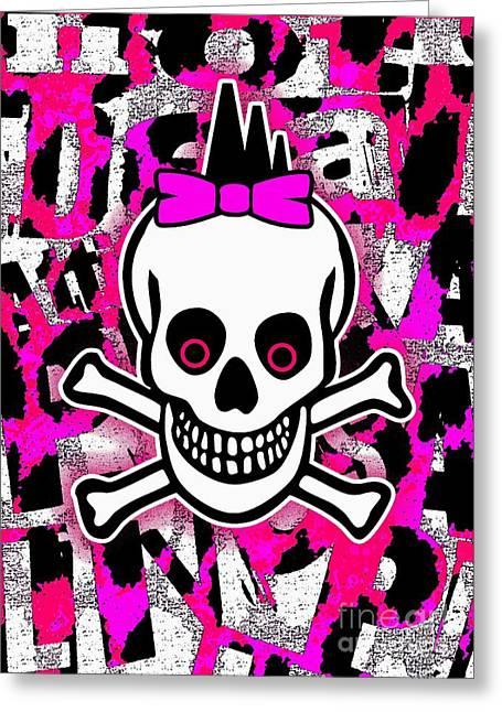 Roseanne Jones Greeting Cards - Girly Punk Skull Greeting Card by Roseanne Jones