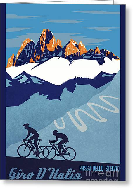 Vuelta Greeting Cards - Giro DItalia cycling poster Greeting Card by Sassan Filsoof