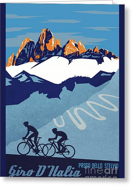 Contador Greeting Cards - Giro DItalia cycling poster Greeting Card by Sassan Filsoof