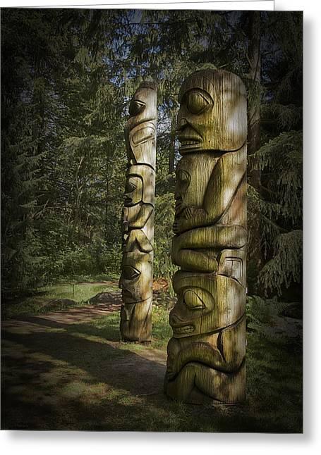 Vancouver Greeting Cards - Gitksan Totem Poles Greeting Card by Theresa Tahara
