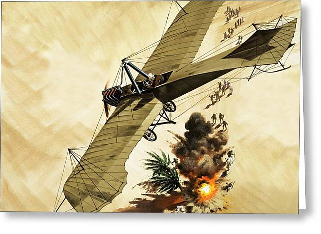 Giulio Gavotti Drops The First Bomb From A Plane Greeting Card by Wilf Hardy
