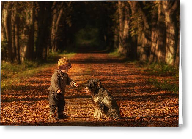Childs Dog Greeting Cards - Give And Take Greeting Card by Christoph Hessel
