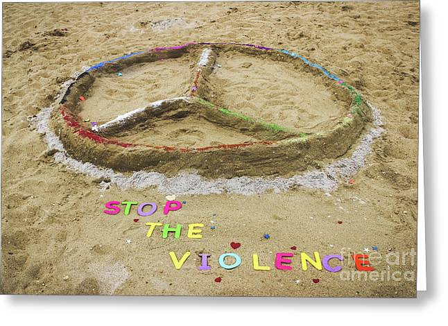 Give Peace A Chance - Sand Art Greeting Card by Colleen Kammerer