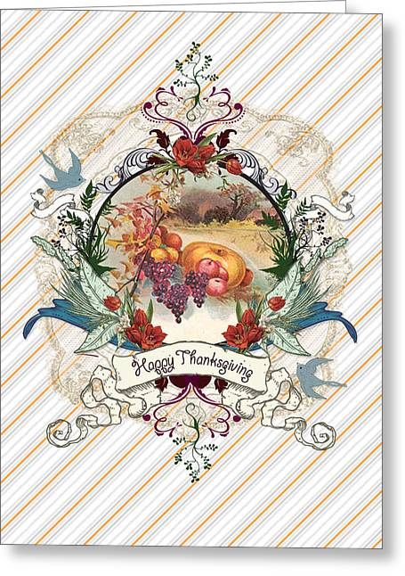 Grape Leaf Mixed Media Greeting Cards - Give Thanks 2 Greeting Card by Carrie Jackson