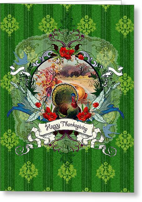 Cards Vintage Mixed Media Greeting Cards - Give Thanks Greeting Card by Carrie Jackson