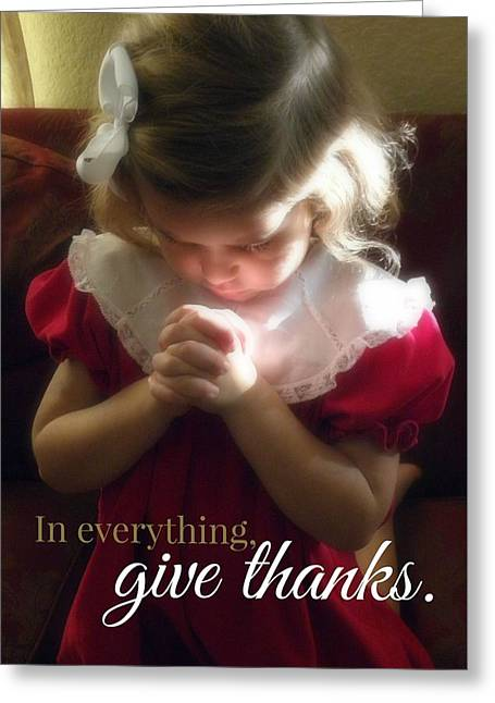 Praying Hands Greeting Cards - Give Thanks Color Greeting Card by Valerie Reeves