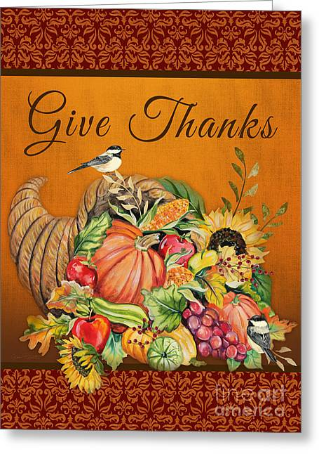 Berry Greeting Cards - Give Thanks Cornucopia-JP3315 Greeting Card by Jean Plout