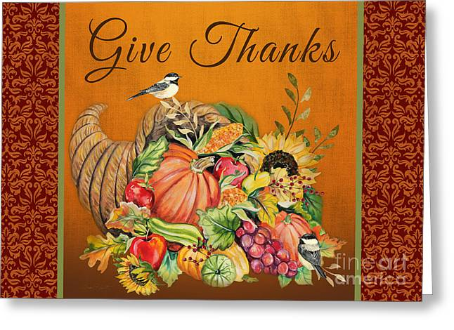 Berry Greeting Cards - Give Thanks Cornucopia-JP3316 Greeting Card by Jean Plout