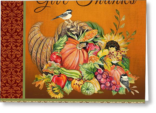 Berry Greeting Cards - Give Thanks Cornucopia-JP3317 Greeting Card by Jean Plout