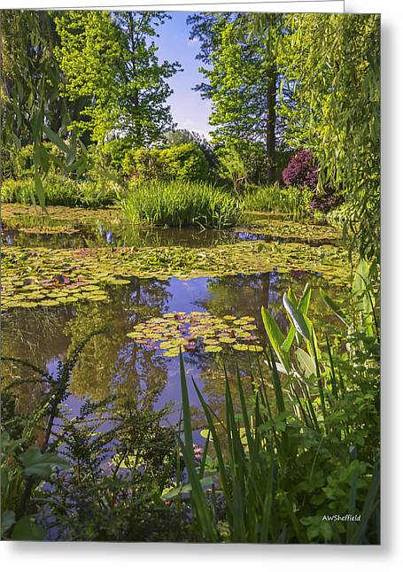 Giverny France - Claude Monet's Pond  Greeting Card by Allen Sheffield