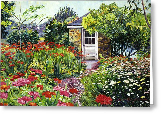 Shed Paintings Greeting Cards - Giverny Gardeners House Greeting Card by David Lloyd Glover
