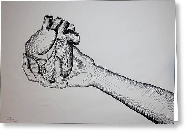 Pencil On Canvas Greeting Cards - Giving Heart Greeting Card by Ru Tover