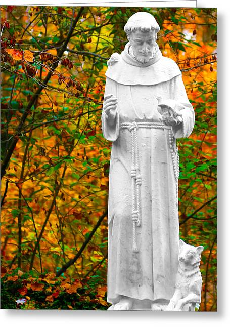 St. Francis Of Assisi Greeting Cards - Giving Greeting Card by Mitch Cat
