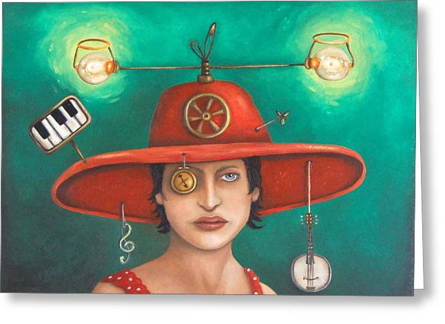 Surreal Humor Greeting Cards - Gizmo 7 Greeting Card by Leah Saulnier The Painting Maniac