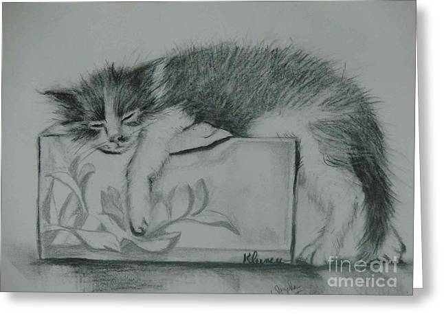 Cute Kitten Pastels Greeting Cards - Gizmo Greeting Card by Sandra Valentini