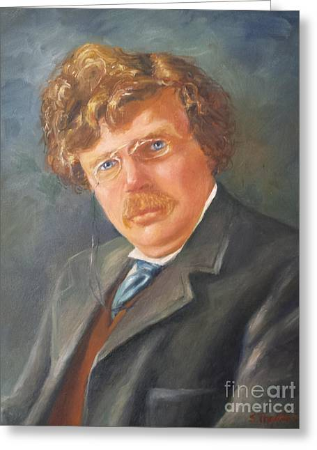 British Portraits Greeting Cards - G.K. Chesterton Greeting Card by Susan Thacker