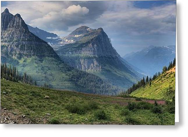 West Glacier Greeting Cards - Glacier Big Bend View Panorama Greeting Card by Adam Jewell