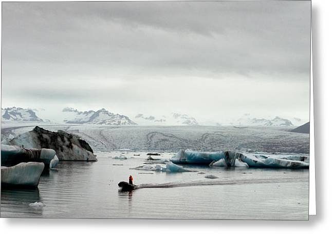 Mountain Road Greeting Cards - Glacier Lagoon Greeting Card by William Beuther