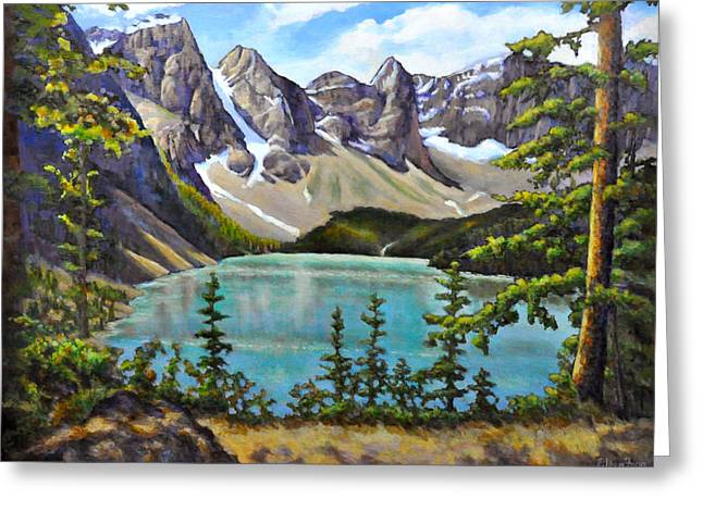 Snow Capped Greeting Cards - Glacier Mountain by the Lake Greeting Card by Eileen  Fong