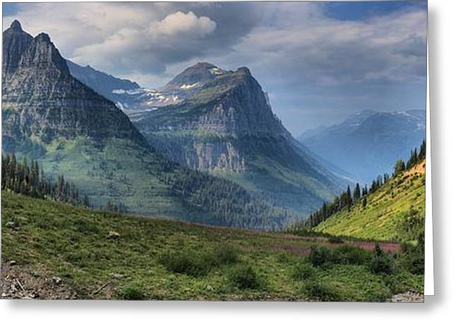 West Glacier Greeting Cards - Glacier National Park Big Bend Greeting Card by Adam Jewell