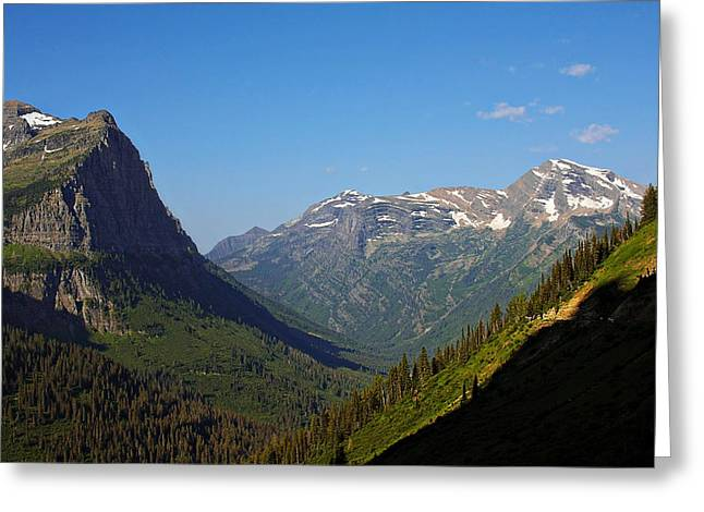 Recreation Greeting Cards - Glacier National Park MT - View from Going to the Sun Road Greeting Card by Christine Till