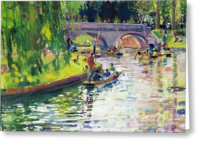 Punting Greeting Cards - Glad Green Summer Greeting Card by Peter Graham