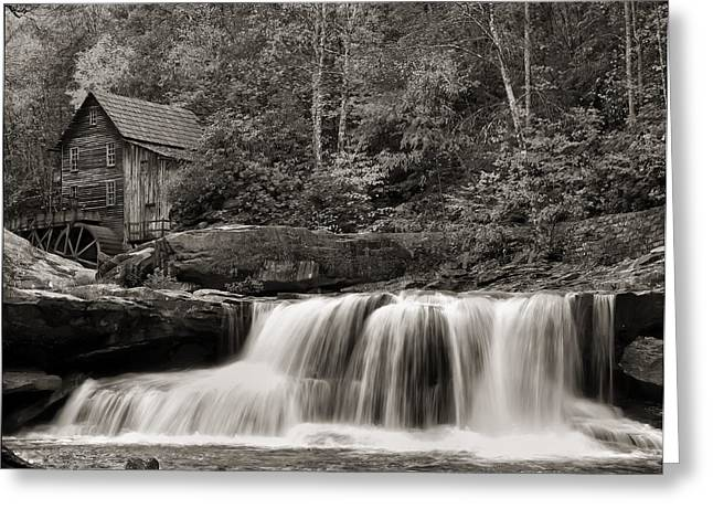 Grist Mill Greeting Cards - Glade Creek Grist Mill Monochrome Greeting Card by Chris Flees