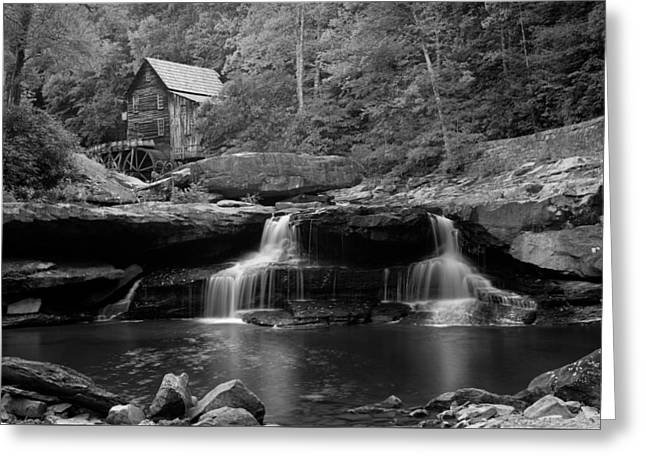 Grist Mill Greeting Cards - Glade Creek Grist Mill - Coopers Mill BW Greeting Card by Gregory Ballos