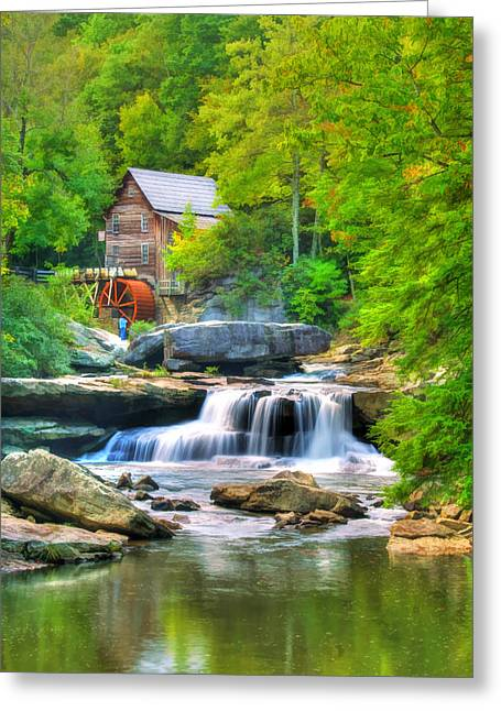 Glade Creek Grist Mill Greeting Card by Darren Fisher