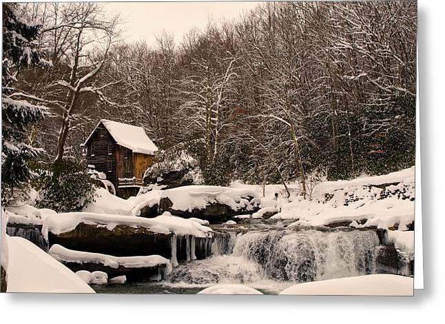 Glade Creek Grist Mill Winter Greeting Card by Chris Flees