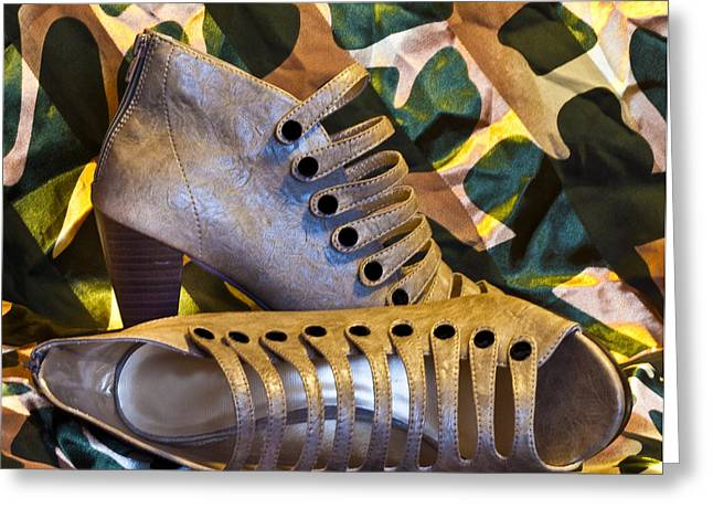 Open Toe Shoes Greeting Cards - Gladiator Boots Greeting Card by Patti Deters