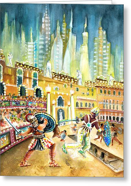Gladiators In Coliseum From Rome Of Tomorrow Greeting Card by Miki De Goodaboom