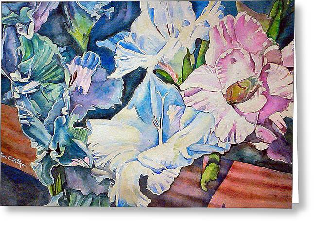 Gladiolas Greeting Cards - Glads on the Deck Greeting Card by June Conte  Pryor