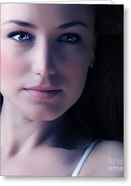Natural Makeup Greeting Cards - Glamor woman face portrait Greeting Card by Anna Omelchenko