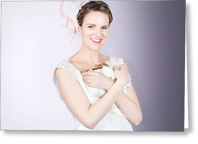 Clutch Bag Greeting Cards - Glamorous bride with beautiful bridal accessories Greeting Card by Ryan Jorgensen