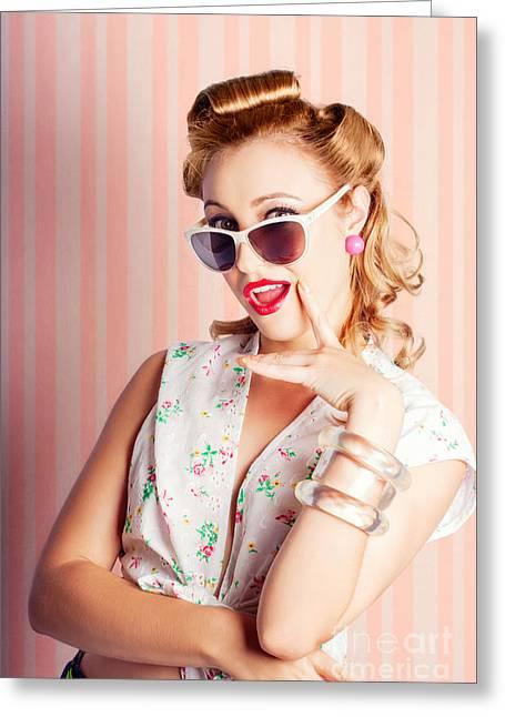 Glamorous Retro Blonde Girl Thinking Fashion Ideas Greeting Card by Jorgo Photography - Wall Art Gallery