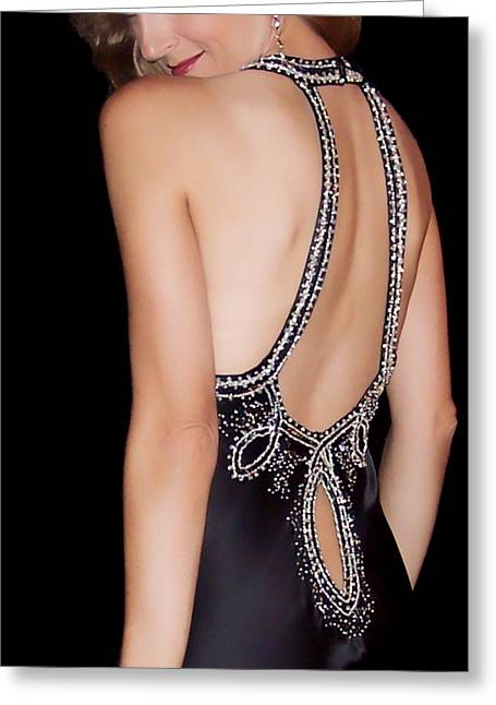 Evening Dress Greeting Cards - Glamour Greeting Card by Donna Blackhall
