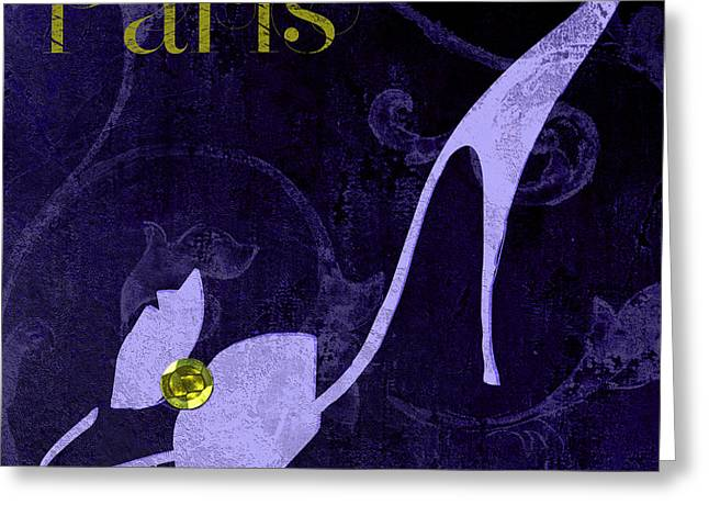 High Heeled Paintings Greeting Cards - Glamour Paris Blue Shoe Greeting Card by Mindy Sommers