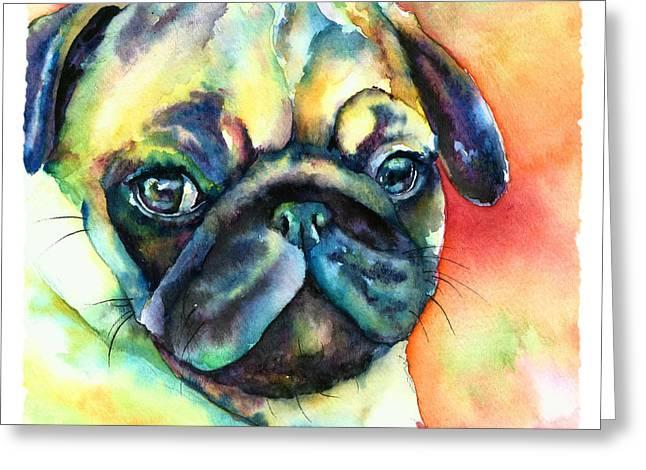 Glamour Pug Greeting Card by Christy  Freeman