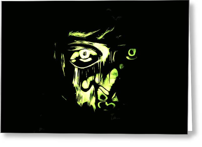 Ghostly Greeting Cards - Glance from Darkness Greeting Card by Alexey Bazhan