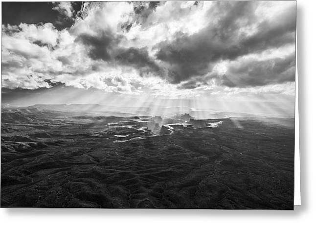 Black And White Mountain Prints Greeting Cards - Glance from the Heavens Greeting Card by Jon Glaser