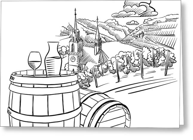 Glas Of Wine On Barrel In Front Of German Vineyard Landscape Greeting Card by Knut Hebstreit
