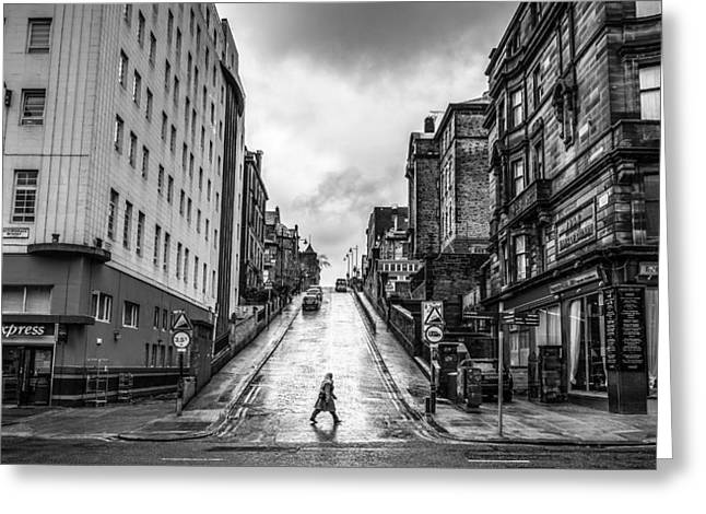 Streetphotography Greeting Cards - Glasgow Scotland Street photography black and white Greeting Card by Giuseppe Milo