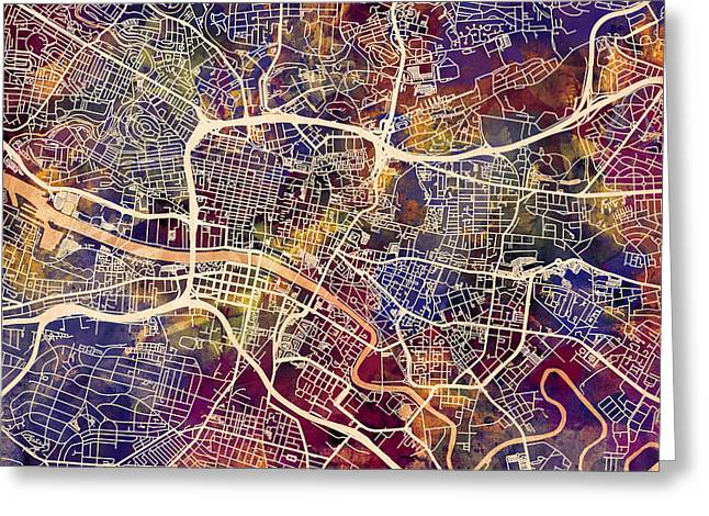 Street Maps Greeting Cards - Glasgow Street Map Greeting Card by Michael Tompsett