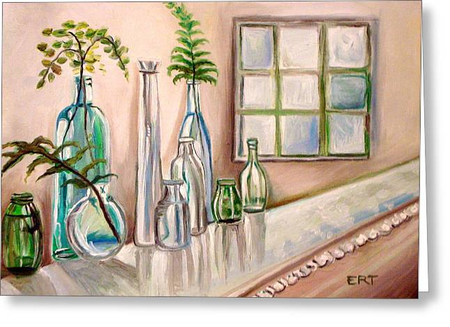 Glass and Ferns Greeting Card by Elizabeth Robinette Tyndall