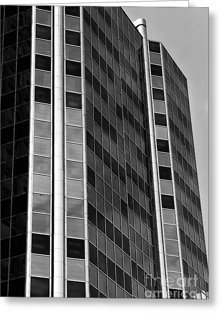 Glass Building Greeting Cards - Glass Angles in Vancouver mono Greeting Card by John Rizzuto