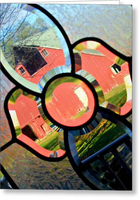 Barn Door Greeting Cards - Glass Barn Greeting Card by Kathy Krause