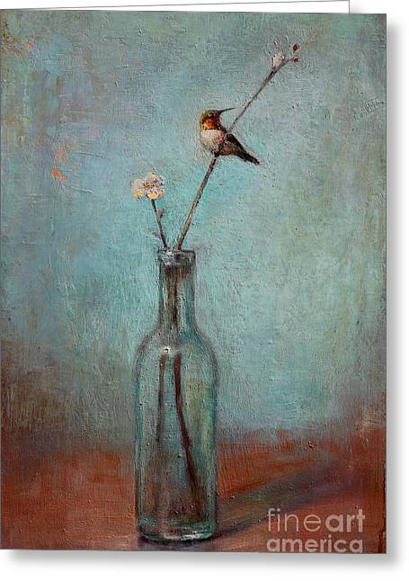 Flower Still Life Greeting Cards - Glass Bottle and Hummingbird Greeting Card by Lori  McNee