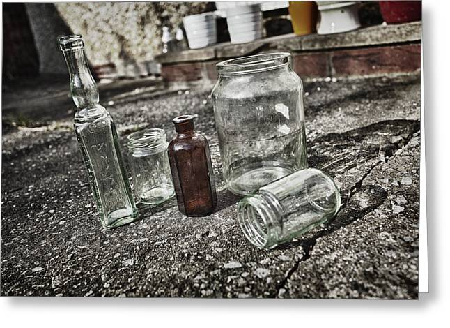 Glass Bottle Greeting Cards - Glass bottles Greeting Card by Stewart Scott